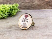 Üveglencsés Keep Calm and Love Coffee gyűrű