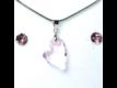Kép 1/2 - Aura rózsaszín Swarovski kristályos ékszerszett - Ferde szív 17 mm, Roseline + díszdoboz