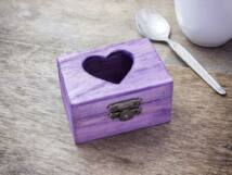Kis szívem lila ékszertartó fa doboz