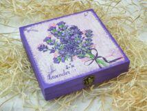 Levendula csokor ékszertartó fa doboz