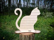 Doromboló macska lézervágott nyírfa ékszertartó