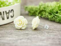 Krém színű rózsa fülbevaló
