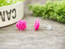 Rózsaszín rózsa fülbevaló