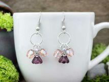 Rózsaszínű kristályos harangvirág fülbevaló
