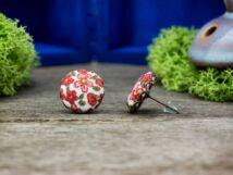 Égővörös nyári mező retro textil gombos beszúrós fülbevaló