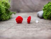 Piros rózsa fülbevaló
