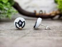 Fekete lótusz gyöngyház beszúrós fülbevaló