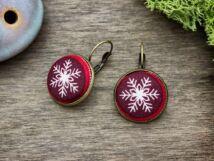 Karácsonyi hópehely textil gombos kapcsos fülbevaló