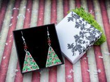 Káprázatos karácsonyfa falemez fülbevaló