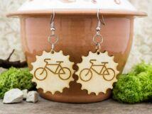Imádom a biciklit lézervágott lógós nyírfa fülbevaló
