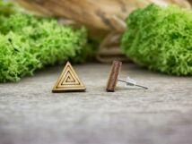 Spirális háromszög lézervágott beszúrós nyírfa fülbevaló