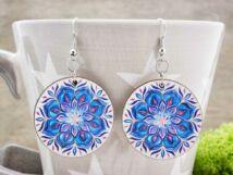Igéző kék virág falemez fülbevaló