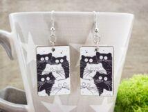 Fekete fehér macsekok falemez fülbevaló