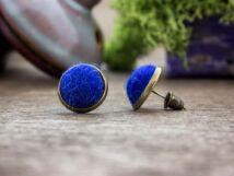 Kék félgömbös beszúrós nemez fülbevaló