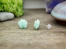 Menta zöld rózsa fülbevaló