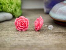 Rózsaszín nagy rózsa fülbevaló