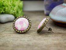 Rózsaszín kertem textil gombos fülbevaló