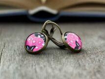 Üveglencsés pink örvény fülbevaló