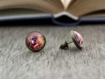 Üveglencsés őzikés beszúrós fülbevaló