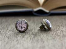 Üveglencsés csipke hatású beszúrós fülbevaló