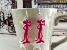 Rózsaszín párduc plexi fülbevaló
