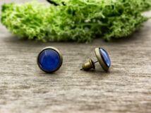 Üveglencsés kék fülbevaló