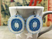 Kék és fehér gyöngyházas barkácsfilc lógós fülbevaló
