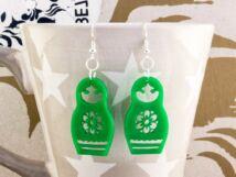 Zöld matrjoska baba plexi fülbevaló