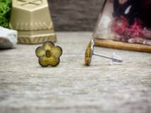 Sárga virág beszúrós gyanta acél fülbevaló
