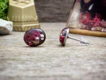 Zuzmó és rózsaszirom beszúrós gyanta acél fülbevaló