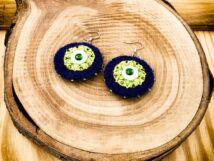 Kék és zöld csillag barkácsfilc lógós fülbevaló