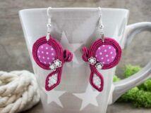 Pink flamingó sújtás fülbevaló