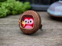 Barátságos bagoly textil gombos gyűrű