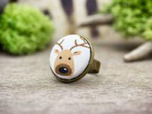 Rénszarvas textil gombos gyűrű