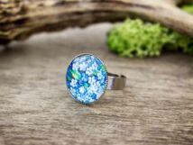 Üveglencsés kék nefelejcs gyűrű