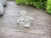 Hegyikristály ezüst színű drót gyűrű