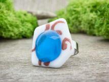 Absztrakt kék üveg gyűrű