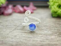 Kék jáde ezüst színű drót gyűrű