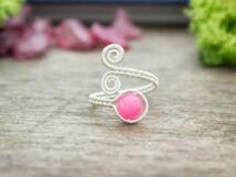 Baba rózsaszín jáde ezüst színű drót gyűrű