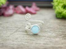 Baba kék jáde ezüst színű drót gyűrű