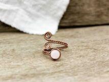 Rózsakvarc réz drót gyűrű