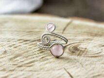 Rózsakvarc ezüst színű drót gyűrű
