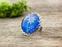 Üveglencsés karácsonyi hópehely gyűrű