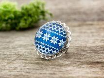 Üveglencsés karácsonyi sormintás gyűrű
