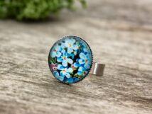 Üveglencsés nefelejcs gyűrű