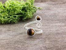 Tigrisszem ezüst színű drót gyűrű