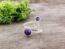 Ametiszt ezüst színű drót gyűrű