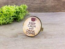 Üveglencsés Keep Calm and Drink Coffee gyűrű