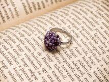 Horgolt lila gyöngyös gyerek gyűrű