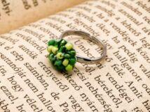 Horgolt sárga és zöld gyöngyös gyerek gyűrű